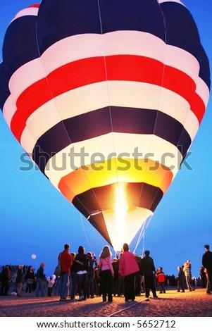 Air ballon at night - stock photo