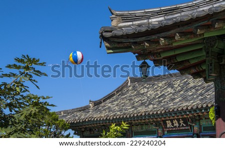 Air balloon and roof detail in Gyeongju, South Korea - stock photo