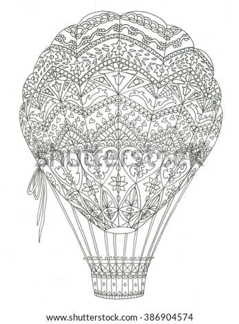 Air balloon coloring page - stock photo