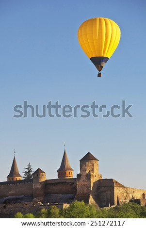 air balloon over castle