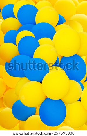 Air balloons of yellow and blue color - stock photo