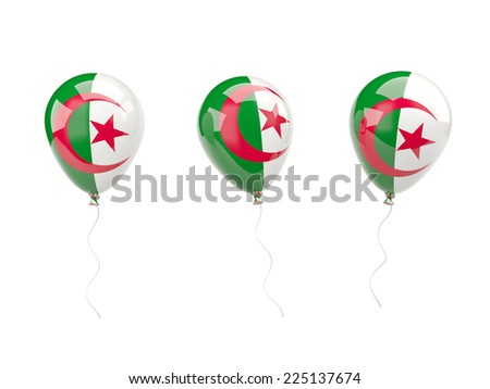 Air balloons with flag of algeria isolated on white - stock photo