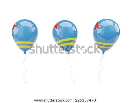 Air balloons with flag of aruba isolated on white - stock photo