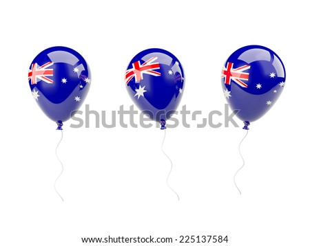 Air balloons with flag of australia isolated on white - stock photo
