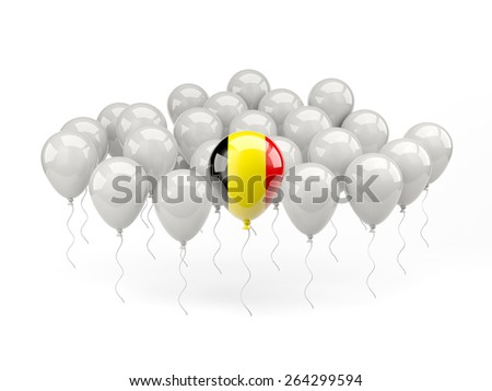 Air balloons with flag of belgium isolated on white