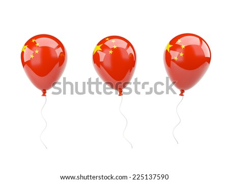 Air balloons with flag of china isolated on white - stock photo