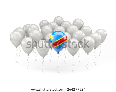 Air balloons with flag of democratic republic of the congo isolated on white - stock photo