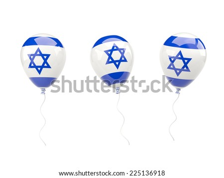 Air balloons with flag of israel isolated on white - stock photo