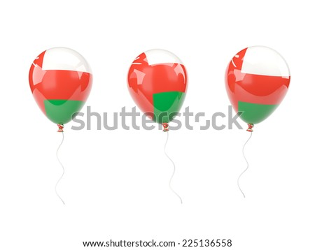 Air balloons with flag of oman isolated on white - stock photo