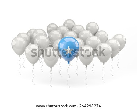 Air balloons with flag of somalia isolated on white - stock photo