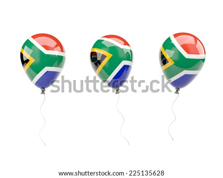 Air balloons with flag of south africa isolated on white - stock photo