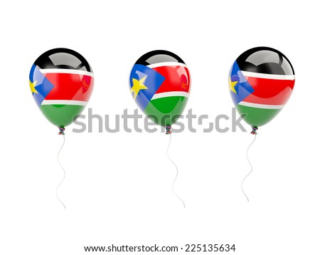 Air balloons with flag of south sudan isolated on white - stock photo