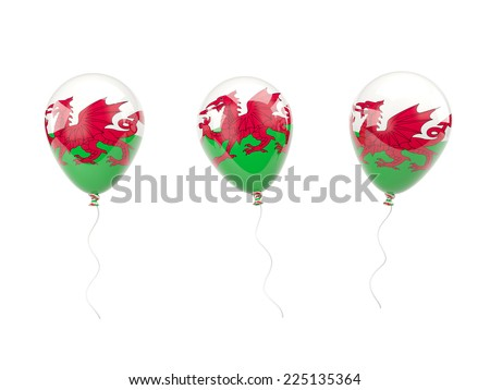 Air balloons with flag of wales isolated on white - stock photo