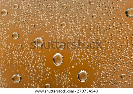 Air bubbles in the bottle, close-up scene - stock photo