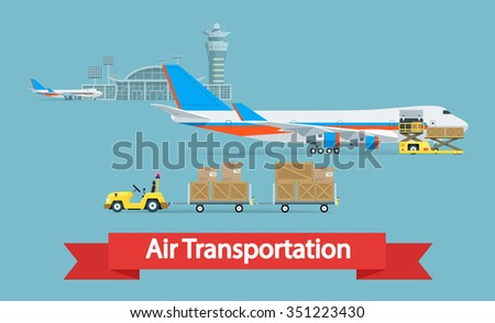 Air cargo transportation concept. Flat style illustration. Logistic concept. It can be used as -pictogram, icon, infographic element. Illustration. - stock photo