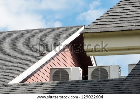 air compressors are located on the roof - stock photo