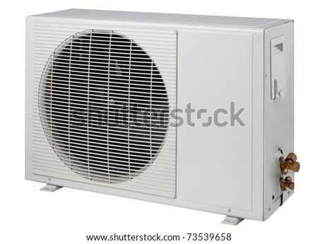 Air condition condenser unit to supply the residence an image isolated on white  - stock photo