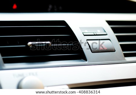 air condition in car with selective focus with emergency button