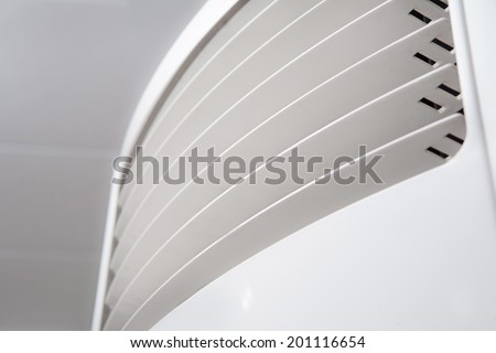 air conditioner closeup background. shallow depth of field - stock photo