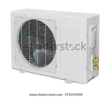 Air conditioner condenser unit isolated on white - stock photo