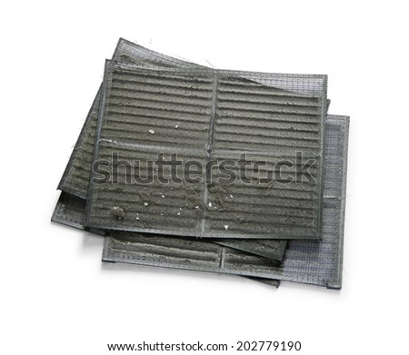 Air conditioner filter with dirty dust isolated on white background - stock photo