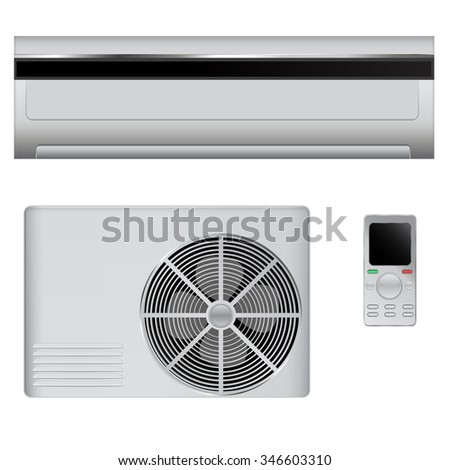 Air conditioner - indoor, outdoor and remote control.  Raster version. Illustration isolated on white. - stock photo