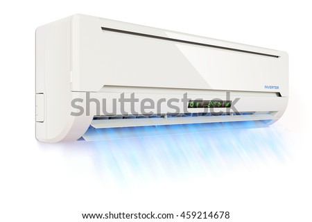cold air conditioner clipart. air conditioner indoor unit with the cold flow isolated on white background 3d clipart