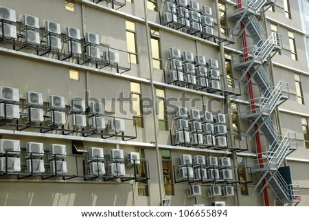 air conditioner on a building - stock photo