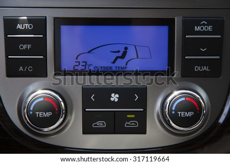 Air conditioning and heating in the car. Control Panel In Interior.