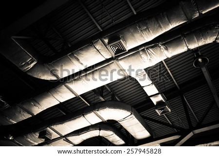 Air conditioning duct on the roof - stock photo