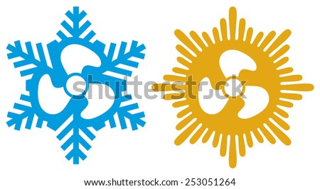 air conditioning icons (air conditioner symbol) - stock photo