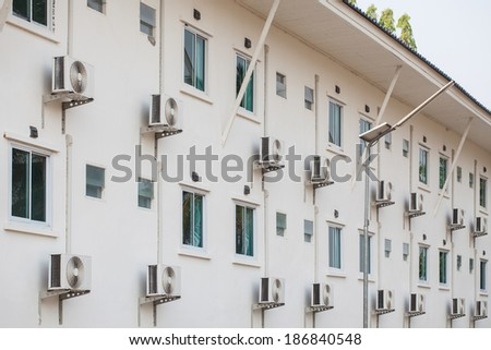 Air conditioning installation in buildings - stock photo