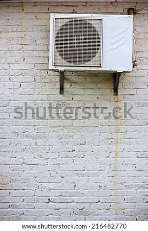 Air conditioning on wall. - stock photo