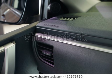 Air-conditioning panel and sign of airbag in car