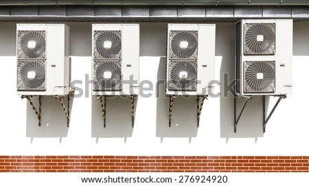Air conditioning system assembled on a wall of a building. - stock photo