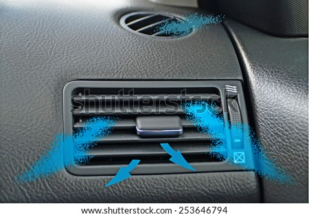 air conductor   car - air condition - blue arrows - climate - stock photo