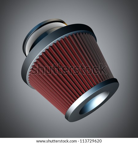 air cone filter of zero resistance. Vehicle Modification Accessories. High resolution 3d render - stock photo