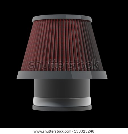 air cone filter of zero resistance. Vehicle Modification Accessories. isolated on black background High resolution 3d render - stock photo