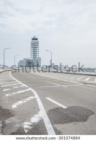 Air control tower in the Osaka Kansai International Airport  - stock photo