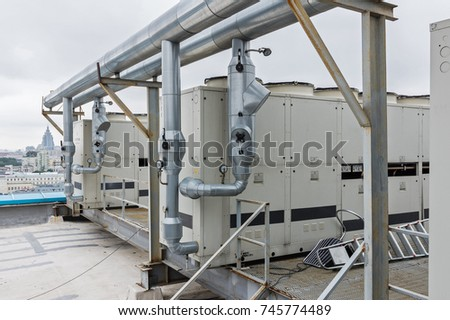 Air Cooled Water Chiller Piping Stock Photo Royalty Free 745774489