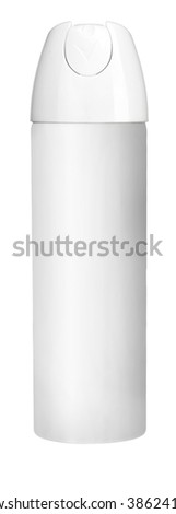 Air deodorant / studio photography of white metal container with white actuator - isolated on white background - stock photo