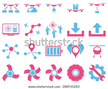 Air drone and quadcopter tool icons. Icon set style: flat glyph bicolor images, pink and blue symbols, isolated on a white background.