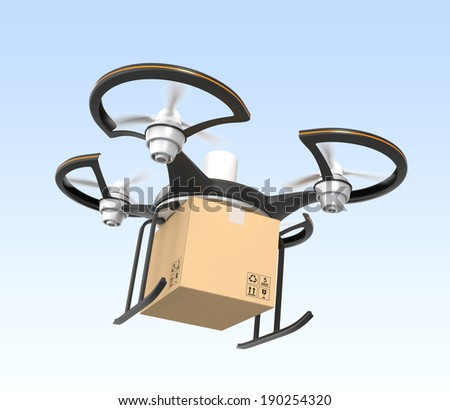 Air drone carrying carton box for fast delivery concept - stock photo