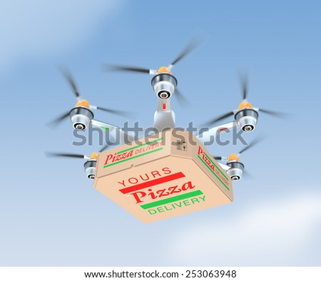 Air drone carrying single pizza box - stock photo