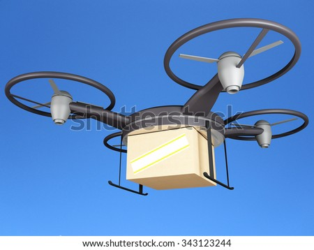 Air drone with delivery box - stock photo