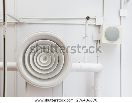 Air duct on ceiling. - stock photo