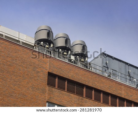 Air exhaust systems to remove fumes in laboratories - stock photo