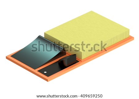 air filter for car, 3D rendering isolated on white background - stock photo