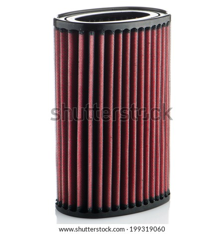Air filter on white background. Vehicle Modification Accessories. - stock photo