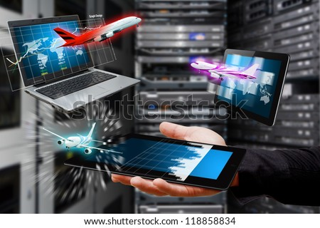 Air flight data in controller room - stock photo